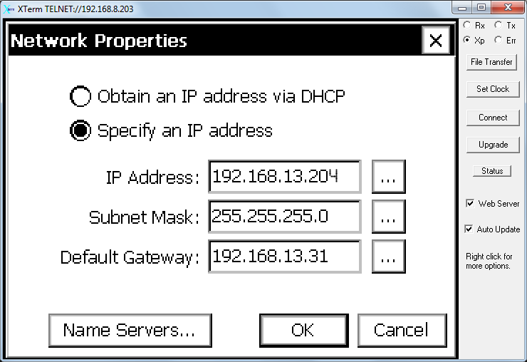 AirLink Cellular | Configuring the instrument network settings