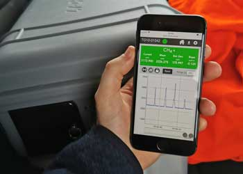 Monitoring methane gas with a mobile device
