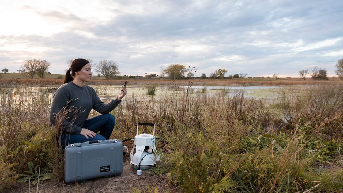 Trace Gas Analyzer in a marsh