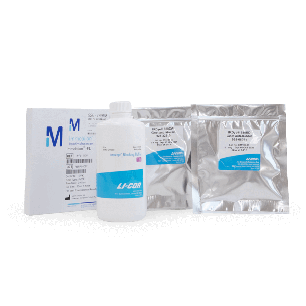Western Blotting Kit with IRDye 680RD GAR and TBS.